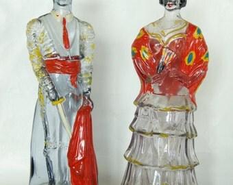 "Vintage 12"" Glass Matador & Spanish Madam Man and Woman Painted Glass Figures Liquor Decanter"
