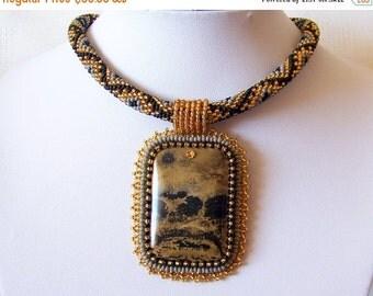 CHRISTMAS SALE Beadwork Bead Embroidery Pendant Necklace with Chohua Jasper - GOLDEN Dream - grey - black - gold - modern necklace - beadwor