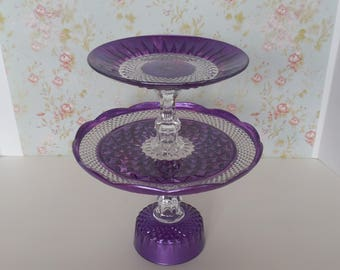 Purple Cake Stand / 2 Tier cake stand / Cupcake Stand / Wedding Cake Stand / Dessert Tower / Tiered Stand / Purple Shower