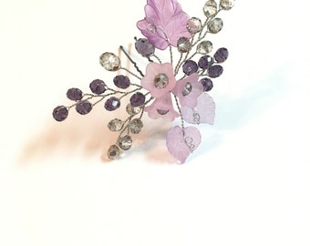 Purple Hair Pin Bridal, Wedding Hair Piece wedding hair accessories, hair pieces for wedding hair pins floral hair piece flower headpiece