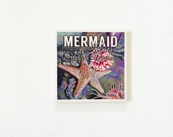 Mermaid Coasters / Beach Decor / Nautical Coasters / Beach Gift / Starfish Decor / wholesale beach / palm tree decor / vintage