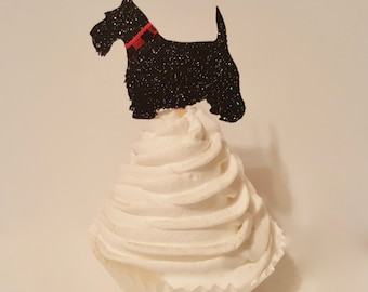 Scottish Terrier dog cupcake toppers red black white plaid collar puppy birthday party decorations decor