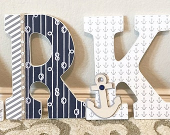 Custom Boy Nursery Letters, Navy and Gray Nursery, Baby Boy Nursery Decor, Wall Letters, Wooden Letters, Personalized- The Rugged Pearl