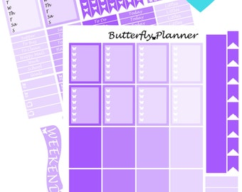 Purple Printable Planner Stickers, 2 Pages, Digital Download,