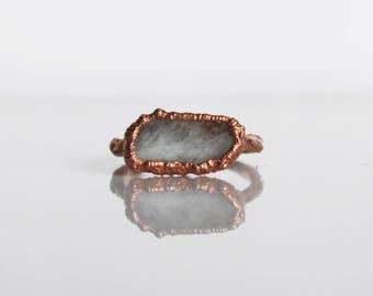 Aquamarine ring, Electroformed , Natural crystal ring , raw crystal ring , Raw Aquamarine ring