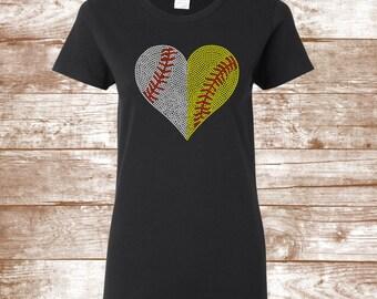 Baseball/Softball Bling Shirt -Personalized Shirt  Baseball Mom Shirt -Softball Mom Shirt- Sports Shirts - Bling Shirts - Rhinestone Sparkle