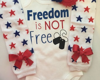 Baby Girl Outfit-  4th of July baby outfit - Memorial day baby outfit - Patriotic baby girl - Red, white blue baby - Freedom is NOT Free