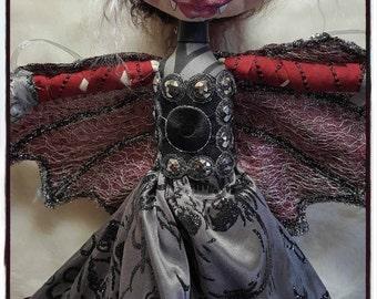 Cloth Doll, Cloth Art Doll, Vampire Doll, Pixie Art Doll, Halloween Doll, Art Doll, Fiber Art Doll, Fabric Art Doll, Fabric Doll, Soft Doll