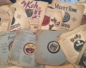 FREE SHIPPING! 15 Antique Talking Machine Victrola Victor, Okeh, Perfect,Velvet Tone,Brunswick,Cameo & Banner Record's. All with Sleeves.
