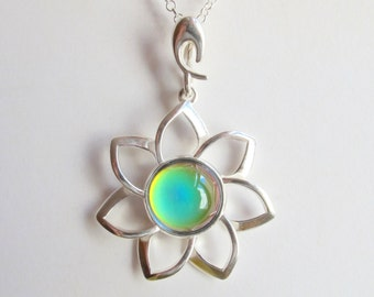 Sterling Silver 925 Mood Necklace Flower Daisy Blossom Floral