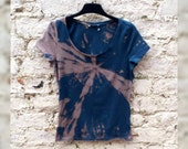Bleach Tie Dye Tshirt Teal Green to fit UK size 10 or US size 6 Festival T-shirt Yoga Clothing Hippie Gift Bleached Shirts Grunge Clothes