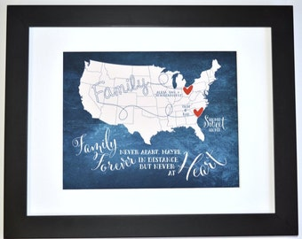 Family map long distance parent gift, mom and dad present, birthday present, christmas gift for family map art print love missing you custom