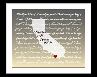 1 year anniversary gift for him, her, state map 1 year anniversary gift  husband personalized paper anniversary man monogram gift custom ca
