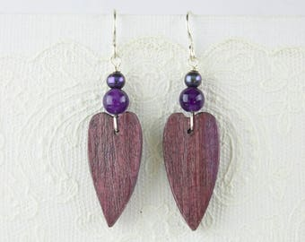 PurpleHeart Wood Heart Shaped Earrings with Purple Amethyst and Peacock Black Pearl Accent Beads Sterling Silver French Ear Wires