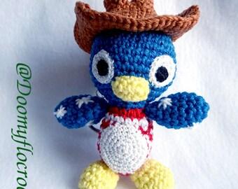 USA penguin keychain; cowboy Tux, american flag amigurumi, crochetes keychain