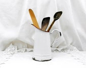 Small Sized Antique French White Enamelware Pitcher, Enamel Jug / Vase, Cottage Kitchen, Farmhouse, French Country Decor, Rustic, Home, Chic