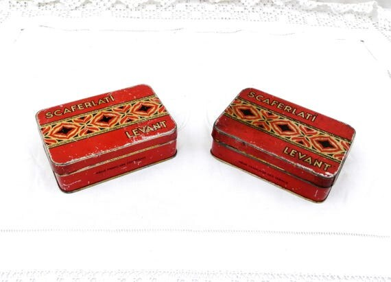 """2 Vintage French Matching Metal Tobacco Tins """"Scaferlati Levant"""" Red and Gold Graphics and Pattern, French Decor, Matching Pair, Retro Tin"""