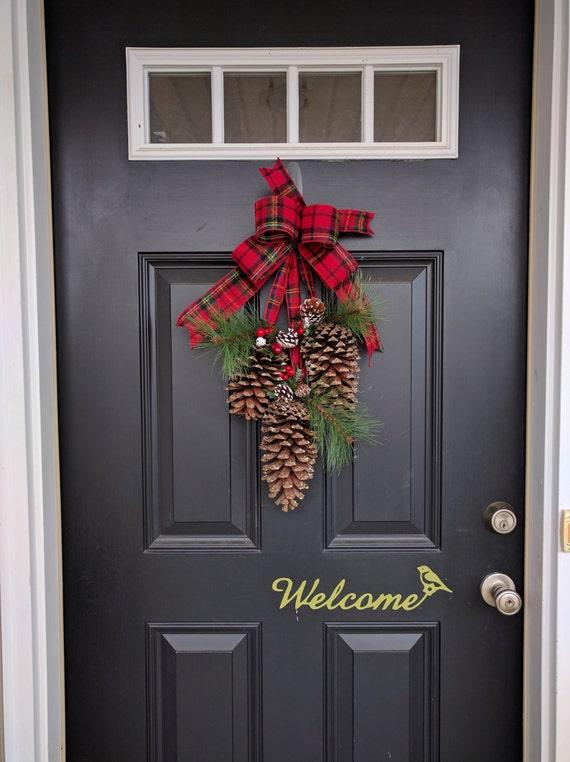 Pine cone swag door decor christmas decor large pine cone for Pine cone door decoration