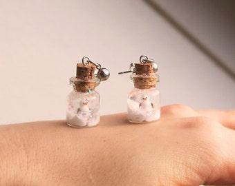 Snowman Snowglobe Earrings - snowman earrings, snow earrings, winter earrings, christmas earrings, christmas jewelry