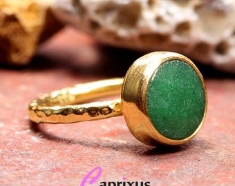 Handcrafted Artisan Hammered 24K Yellow Gold over 925 Solid Sterling Silver, Natural Gemstone Green Jade Ancient Roman Art Designer Ring