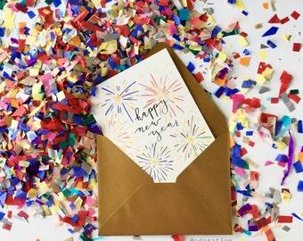 Happy New Year Fireworks Card / Card Set