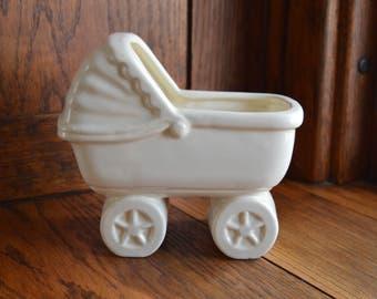 Antique Planter / Haeger Pottery / Nursery Decor / Vintage Nursery / Baby Buggy / Carriage / Baby Shower / Centerpiece / Ceramic Planter