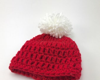 0-3 months hat, crochet baby hat with pom pom, baby boy hat, baby girl hat, red hat, Christmas hat, winter hat