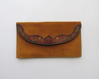 70s Suede Clutch Tooled Southwestern Hand Painted Floral Bag