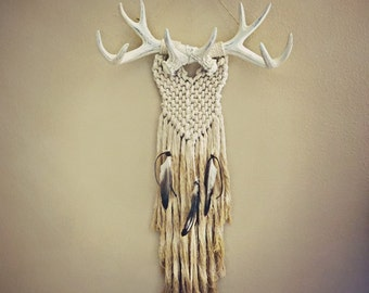 Where the Wild Ones Wander Wall Hanging - wall decor - macrame - wall art - wall hanging - faux taxidermy - antlers - deer antlers