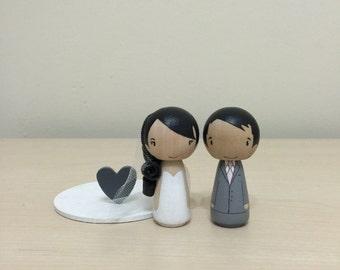 Personalized Kokeshi Wedding Cake Topper