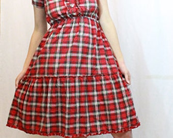 Red Plaid Ruffled Chest Button Down Cowgirl Dress
