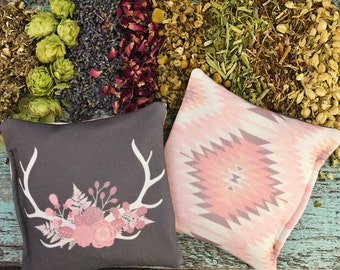 """Dream Pillow - """"Floral Antlers"""" - High Quality Aromatic Organic Herbs - Double Sided Design - Restful Sleep - Herbs for Sleep and Relaxation"""
