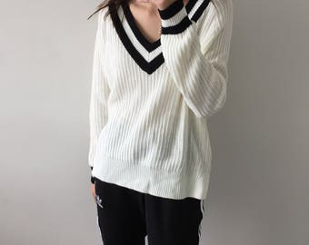 Knitted v neck sweater / jumper , striped , lined , lolita , college , cable knit , white and black , minimalist