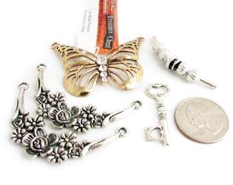 Destash Pendants, Metal Pendants, Butterfly Pendant, Bead Soup, Mixed Pendants, Jewelry Findings, Key Pendant