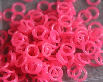50 neon Pink 12mm Oh Rings Orings Silicone Rubber Rings Jumprings Chainmaille Florescent
