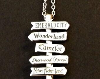 SALE Fantasy/ Fairy Tale Signpost Necklace - Fictional Lands - Wonderland - Oz - Neverland - Camelot - Sherwood Forest - gifts under 15