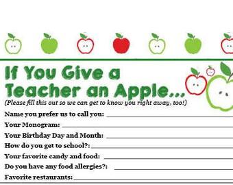 Teacher's Favorites List, Teacher Questionnaire for Gift-Giving
