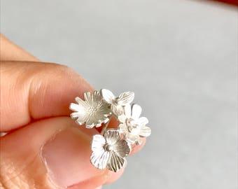 Spring Wild Flower Bouquet Earrings. sterling silver studs earrings