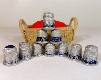 Vintage Advertising Thimbles 1920s Aluminum Thimble Antique Sewing Notion Collectible