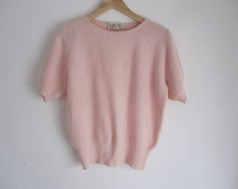 Baby Pink Cashmere Short Sleeve Vintage Sweater Top