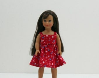 Red Mini American Girl Style 6 Inch Doll Dress