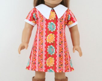 1970s Red Polyester American Girl style 18inch Doll Dress