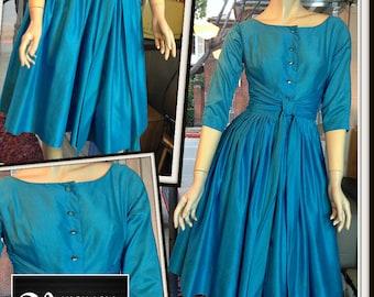 Vintage Turquoise Blue Full Skirt Dress FREE SHIPPING