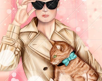INSTANT DOWNLOAD - Audrey Hepburn , Holly Golightly in Breakfast at Tiffany's - Digital Illustration - Fanart