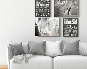 Subway Typography Wedding Canvases