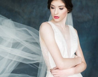 Ivory Tulle Cathedral Bridal Veil, Wedding Veil, Chapel Veil, Gathered Veil, Simple Wedding Veil, White Cathedral Veil, Off White Veil REGAL