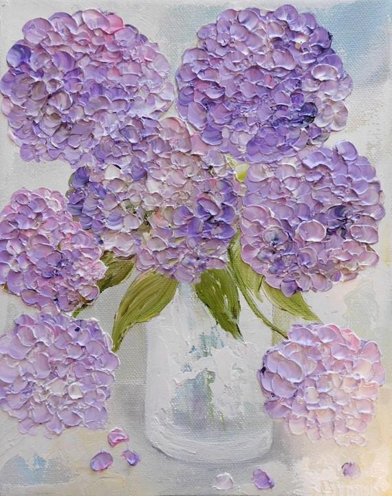 Fresh lavender hydrangea 39 s oil painting shabby for Peinture shabby chic