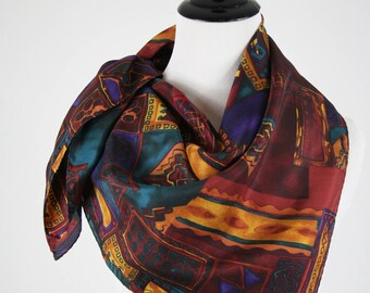 1980s Abstract Collage Print Large Square Silk Scarf