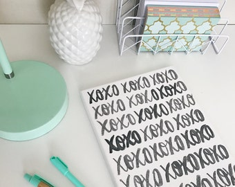 XOXO - 8 x 10 Hand Lettered Canvas | Home Decor | Valentine's Day Decor | Valentine's Day Gift | Hand Lettered | Calligraphy | Canvas Quote