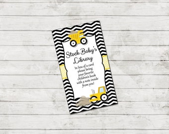Book Request - Construction Baby Shower - Chevron Stripes - Black Yellow - INSTANT DOWNLOAD - Printable